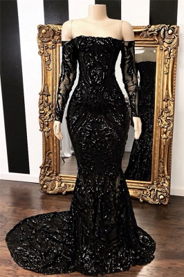 Sexy Black Mermaid Prom Dresses | Off-the-Shoulder Long Sleeves Evening Gowns_1