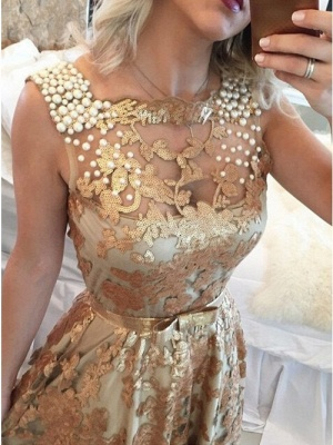 Gorgeous Sleeveless Beaded Prom Dress   Gold Sequins Evening Dresses on Sale_2