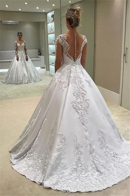 Appliques Elegant Long-Sleeves Ball-Gown Bridal Gown_2
