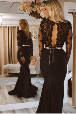Sexy Long-Sleeves V-Neck Prom Dresses   Mermaid Black Lace 2021 Evening Gowns BC2362_2