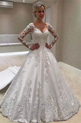 Appliques Elegant Long-Sleeves Ball-Gown Bridal Gown_1