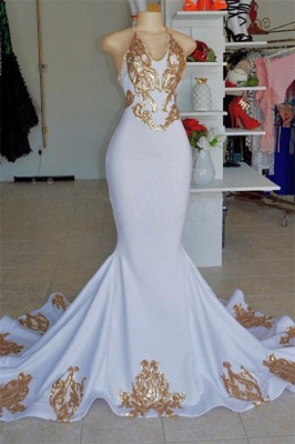 Elegant Halter V-Neck Prom Dress |  Gold Appliques  Sleeveless Evening Gowns BC2178_1