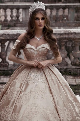 Elegant Strapless Off-The-Shoulder Wedding Dress | Long Ball-Gown 2021 Bridal Gowns_2
