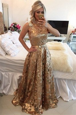 Gorgeous Sleeveless Beaded Prom Dress   Gold Sequins Evening Dresses on Sale_1