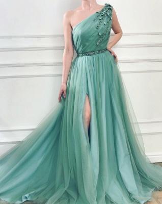 Elegant One Shoulder Tulle Prom Dresses | Ruffles Cheap Sashes Split Evening Dresses_3