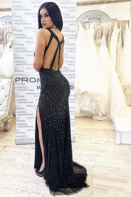 Brilliant Sleeveless V-Neck Prom Dresses | Mermaid Beading Side-Slit Evening Dresses_2