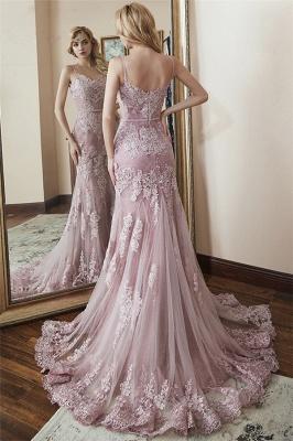 Lace Spaghetti-Straps Elegant Mermaid Prom Dresses_2