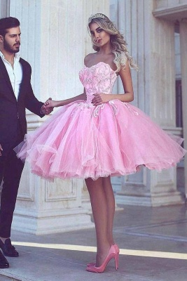 Pink Ball-Gown Appliues Sweetheart-Neck Short Homecoming Dresses_2