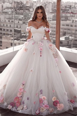 Off-the-shoulder Glamorous Weeding Flowers A-Line Dresses_1
