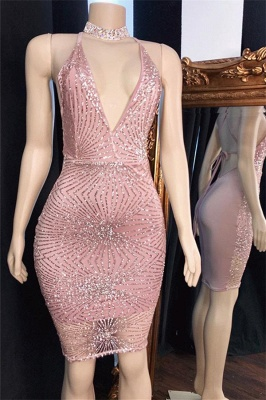 Shiny Spaghetti-Straps Short Cocktail Dresses | Pink Sheath Sequins Prom Dresses_1