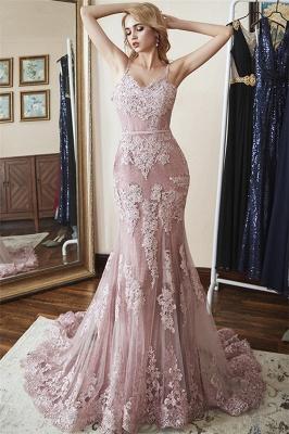 Lace Spaghetti-Straps Elegant Mermaid Prom Dresses_1