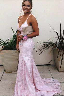Lace Sweep-Train Beautiful Prom Dresses | Mermaid Spaghetti-Straps 2021 Evening Gowns_1