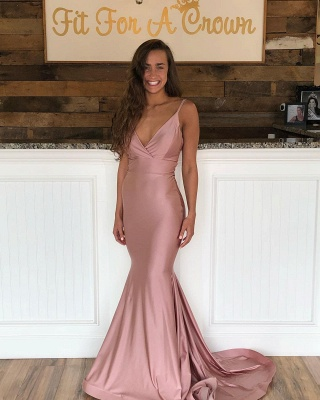 Mermaid Sweep-Train Amazing Prom Dresses | Spaghetti-Straps Evening  Gowns_3