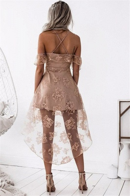 Cute A-line Hight-low Short Lace Homecoming Dress_3