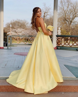 Spaghetti-Straps Floor-Length Beautiful Sleeveless Prom Dresses | Yellow A-line Formal Gowns_3