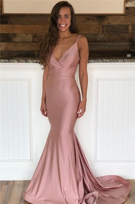 Mermaid Sweep-Train Amazing Prom Dresses | Spaghetti-Straps Evening  Gowns_1