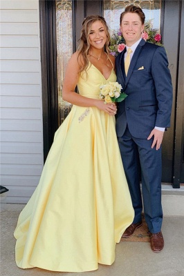 Spaghetti-Straps Floor-Length Beautiful Sleeveless Prom Dresses | Yellow A-line Formal Gowns_1