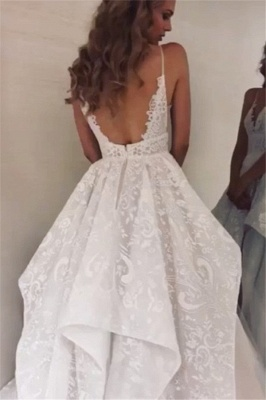 A-line Spaghetti-Straps Charming Wedding Dresses   White Backless Wedding Gowns_2