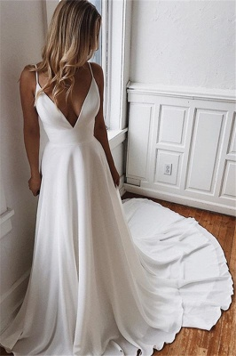 Charming Sweep-Train Lace A-line White Wedding Dresses   Spaghetti-Straps 2021 Wedding Gowns_2