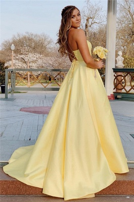 Spaghetti-Straps Floor-Length Beautiful Sleeveless Prom Dresses | Yellow A-line Formal Gowns_2