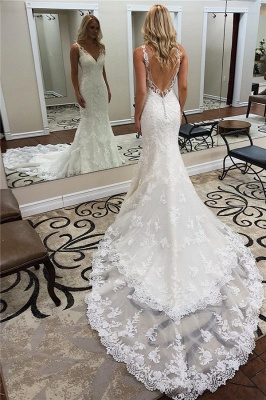 Backless Sleeveless Appliques Sheath Alluring Ivory Wedding Dresses | Chapel-Train V-neck Wedding Gowns_1
