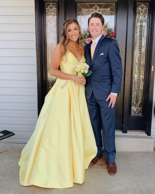 Spaghetti-Straps Floor-Length Beautiful Sleeveless Prom Dresses | Yellow A-line Formal Gowns_4
