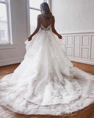 Ball-Gown Lace Spaghetti-Straps White Fascinating Wedding Dresses | Chapel-Train Appliques 2021 Wedding Gowns_2