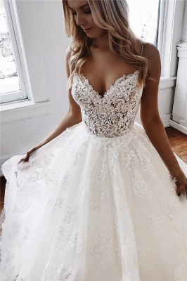 Ball-Gown Lace Spaghetti-Straps White Fascinating Wedding Dresses | Chapel-Train Appliques 2021 Wedding Gowns_3