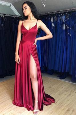 Sweep-Train Spaghetti-Straps Beautiful Prom Dresses   Sheath Side-Split 2021 Evening Gowns_2