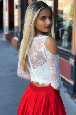 Jewel A-Line Two-Pieces Marvelous Prom Dresses | Cold-Shoulder Lace Evening Gowns_4