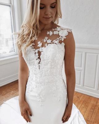 Jewel Sheath Sleeveless Glamorous Appliques Wedding Dresses | Cathedral-Train 2021 Wedding Gowns_3