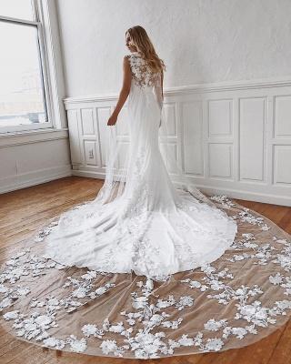 Jewel Sheath Sleeveless Glamorous Appliques Wedding Dresses | Cathedral-Train 2021 Wedding Gowns_2