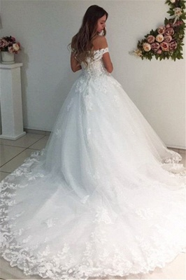 White Ball Gown Wedding Dresses | Off-the-Shoulder Puffy Bridal Gowns_3