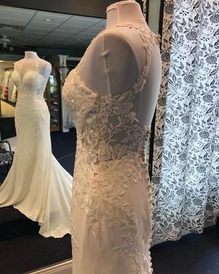 Jewel Appliques Glamorous Mermaid Wedding Dresses_2