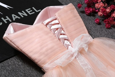 Sweetheart A-Line Ruffles Simple Short Crystal Short Homecoming Dresses_4