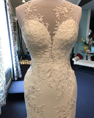 Jewel Appliques Glamorous Mermaid Wedding Dresses_1