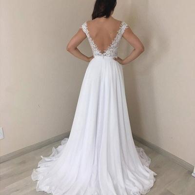 Lace Jewel A-line Cap-Sleeves Excellent Appliques Wedding Dresses_2