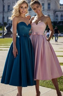 Marvelous A-line Sweetheart Belted Strapless Bow Prom Dresses_1