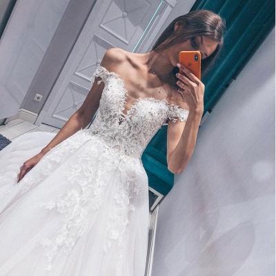 Fascinating Appliques Off-the-shoulder Lace A-line Wedding Dresses_2