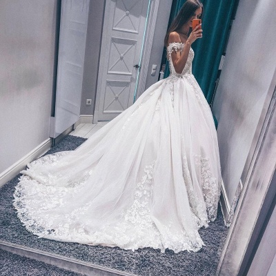 Fascinating Appliques Off-the-shoulder Lace A-line Wedding Dresses_3