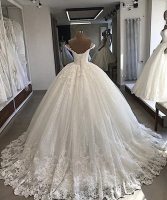 Applique Off-the-shouder Luxury Beading Ball-gown V-neck Wedding Dress_2