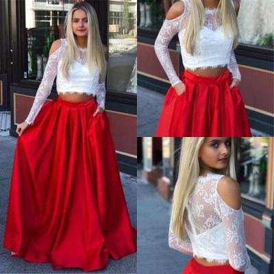 Jewel A-Line Two-Pieces Marvelous Prom Dresses | Cold-Shoulder Lace Evening Gowns_3