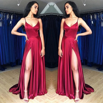 Sweep-Train Spaghetti-Straps Beautiful Prom Dresses   Sheath Side-Split 2021 Evening Gowns_1