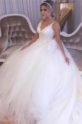 Beading Applique Strap V-neck A-Line Gorgeous Wedding Dress_3