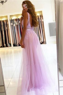 Beaded Floor-length Sheath Straps V-neck Applique Prom Dresses_2