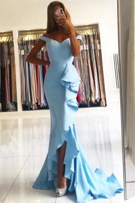 Off-the-shoulder V-neck Ruffles Mermaid Prom Dress_2