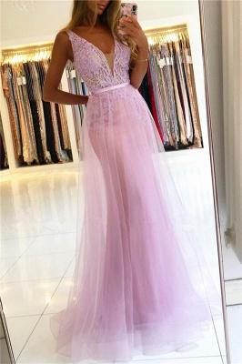 Beaded Floor-length Sheath Straps V-neck Applique Prom Dresses_1