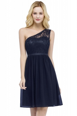 Short Lace One-shoulder Top Chiffon Homecoming A-line Dresses with Sash_3
