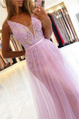 Beaded Floor-length Sheath Straps V-neck Applique Prom Dresses_3