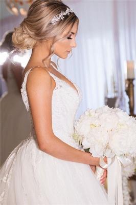 Beading Applique Strap V-neck A-Line Gorgeous Wedding Dress_2